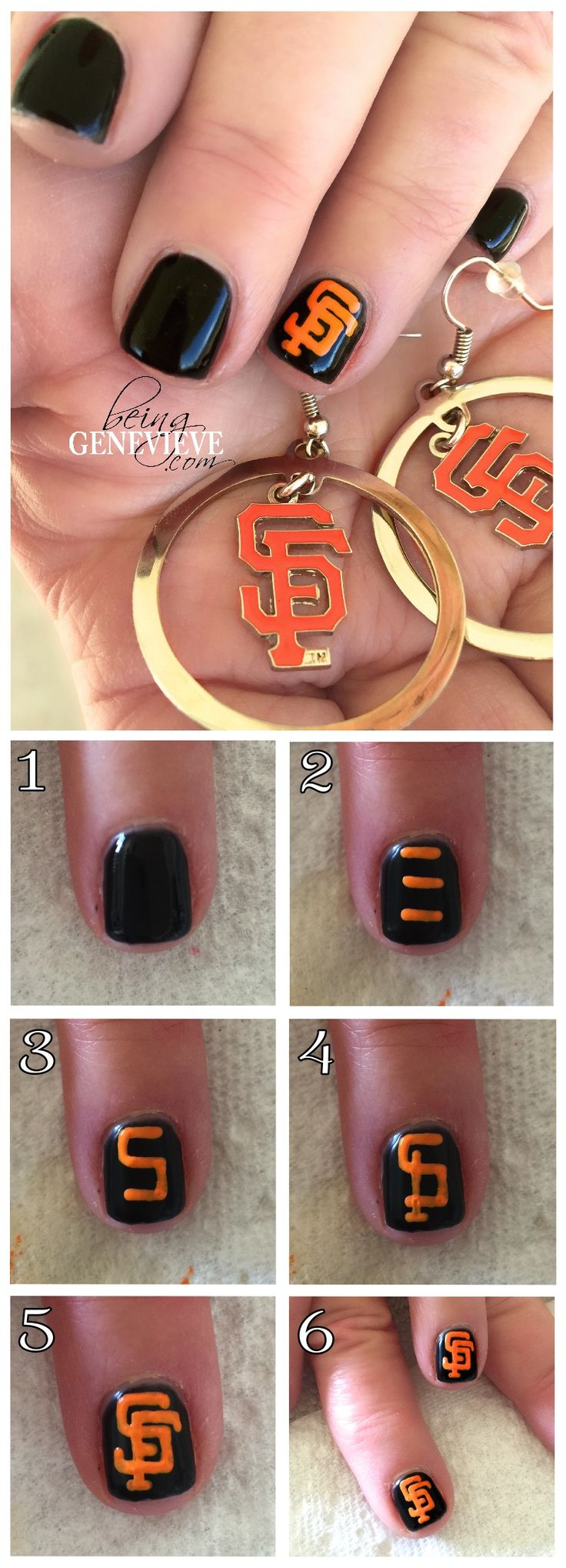 Go Giants! | Being Genevieve Here is a step-by-step nail art tutorial on how to paint the San Francisco Giants logo onto your nails.