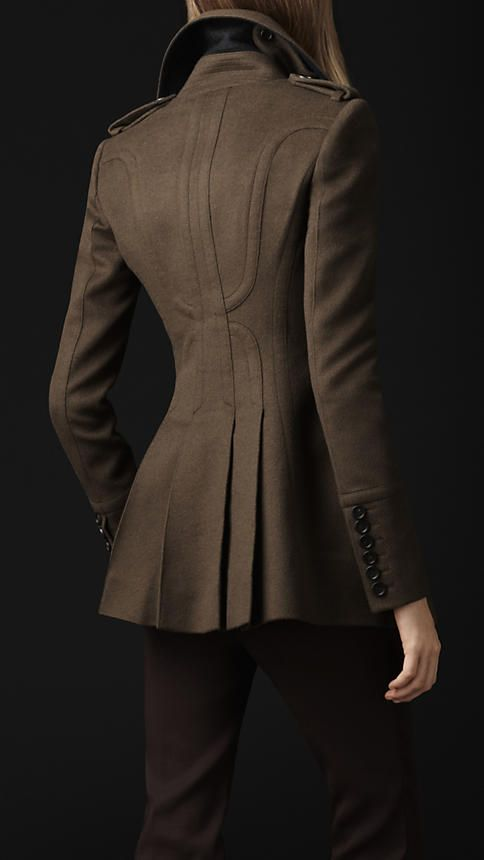 This coat...THIS COAT!!! Burberry - WOOL CASHMERE TAILORED COAT ... Love the military look to wool coats! <3
