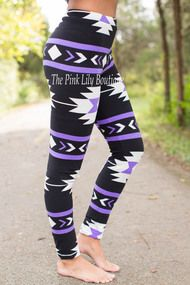 Black and Purple Aztec Leggings