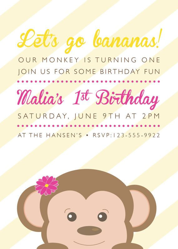 The 48 best images about girl monkey party on pinterest monkey birthday party invitation filmwisefo
