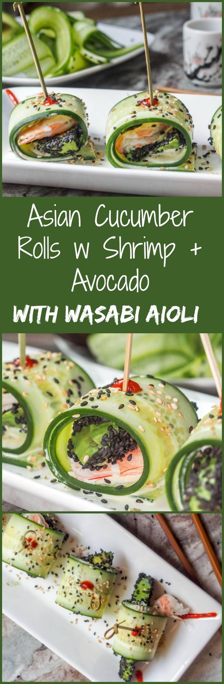 These Asian Cucumber Rolls with Shrimp + Sesame Avocado are served with a Wasabi Aioli and simply brimming with fresh crunchy flavors. The definition of summer flavors. Low carb and healthy. Serve as a light lunch or appetizer. Gluten Free and Dairy Free.   avocadopesto.com