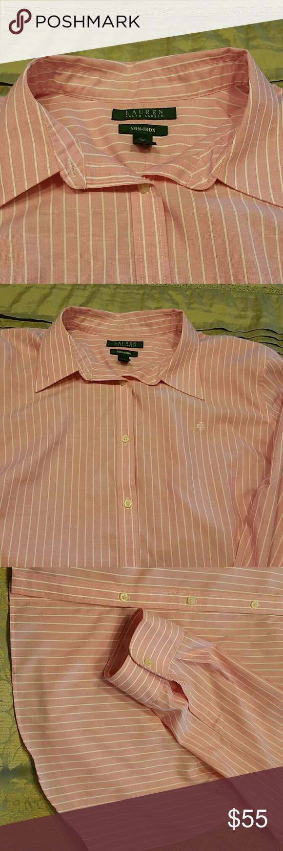 Ralph Lauren Womens Oxford Pink Pin-Striped, Non-Iron, Cut to be worn tucked or out.  Sleeve from shoulder to underneath arm is approx 10.75 inches. It's in excellent condition, only worn once or twice. Ralph Lauren Tops Button Down Shirts