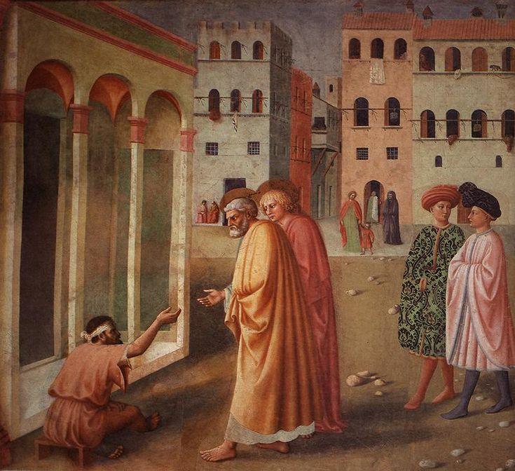6- Masolino da Panicale - Guarigione dello zoppo - affresco - 1424-1426 circa - Cappella Brancacci (parete destra) - Chiesa Santa Maria del Carmine, Firenze