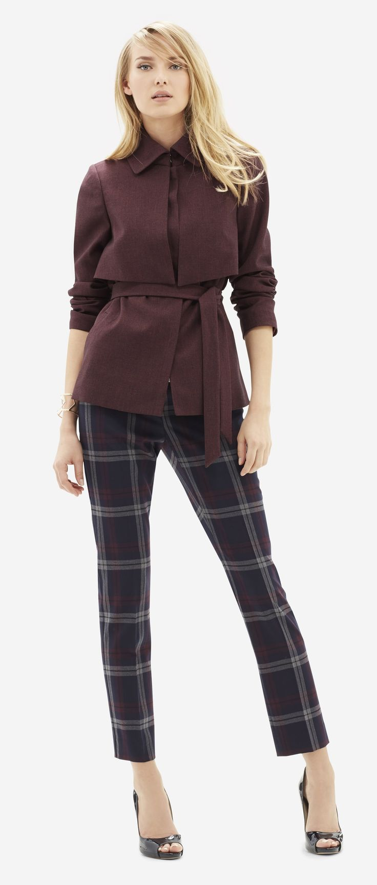 """Drew Plaid Ankle Pants - Preppy plaid in mature colors complement the season with a tasteful outlook. Our modern Drew fit sits low on the waist with a straight hip and thigh, and an 8.5"""" rise."""