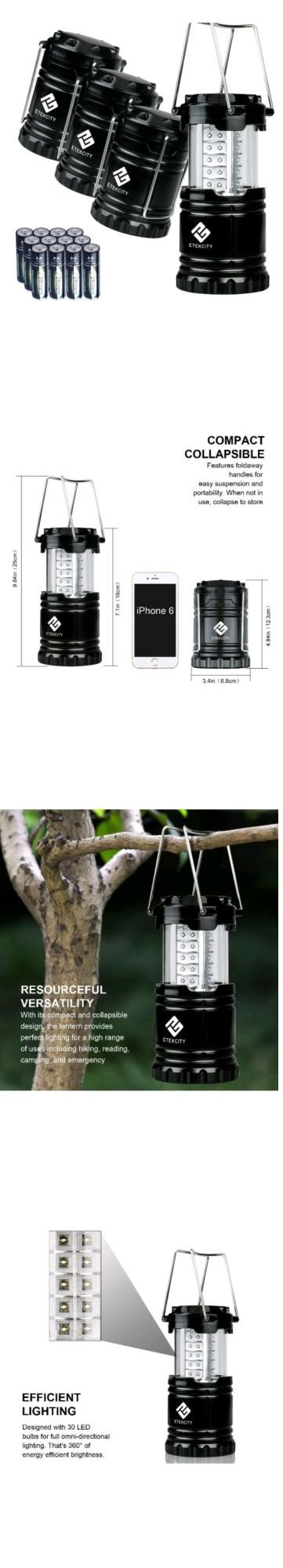 Other Camping Lighting 159092: Camping Lantern 4 Pk Etekcity Portable Led Lantern Batteries Included Outdoor -> BUY IT NOW ONLY: $46.99 on eBay!