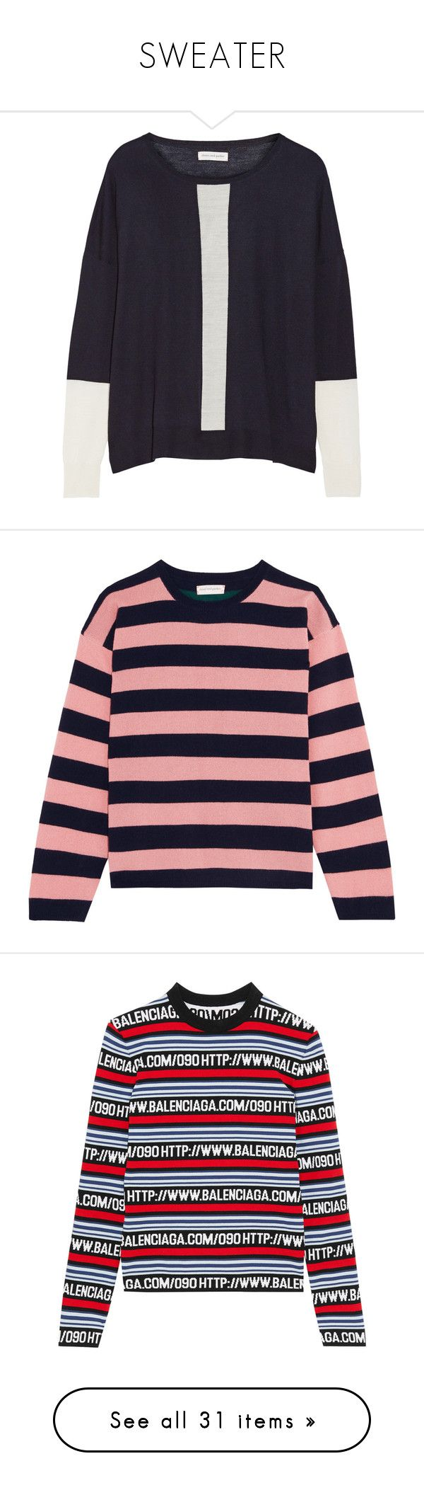 """SWEATER"" by starlight05 ❤ liked on Polyvore featuring tops, sweaters, navy, navy top, merino sweater, merino wool sweater, chinti and parker, blue top, pink and pink striped sweater"