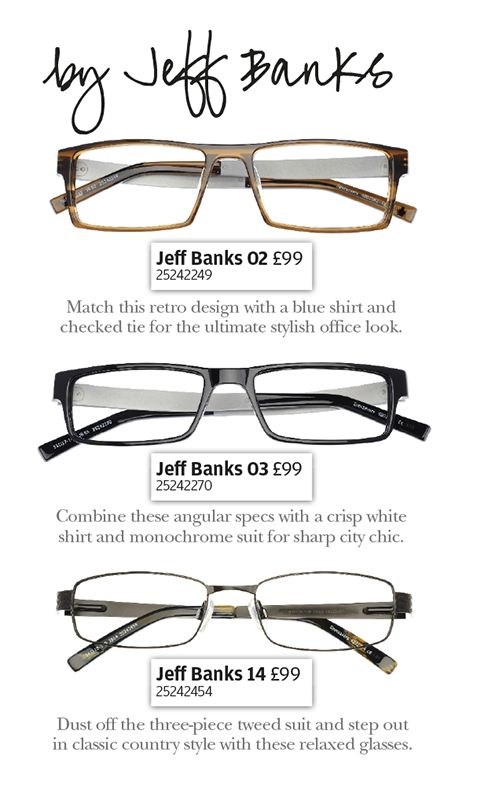 Fashion legend Jeff Banks' new men's range for Specsavers.