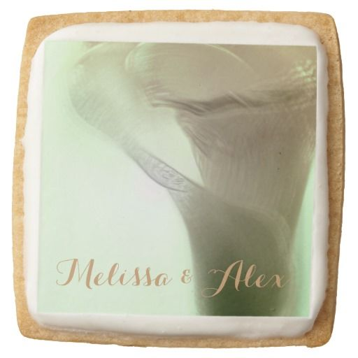 Romantic Flower Detail - Custom names / Square Premium Shortbread Cookies, set of 4! by FOMAdesign #love #valentine #wedding