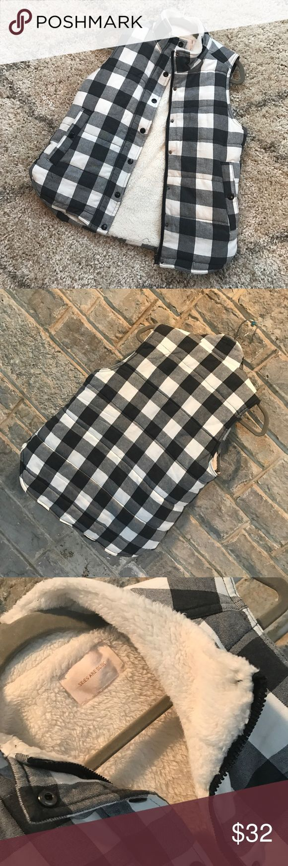 Black and white buffalo check vest. Size large. Black and white buffalo check vest. Size large. Purchased from Evereve this fall. Great condition. Jackets & Coats Vests