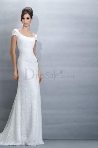 Sleek, detailed, lace wedding dress