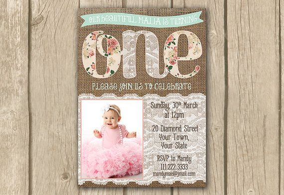 burlap photo invite, 1st first birthday invite,1st birthday invitation, baby girl invite, pink mint lace invite, proof in 2 business days on Etsy, $16.50