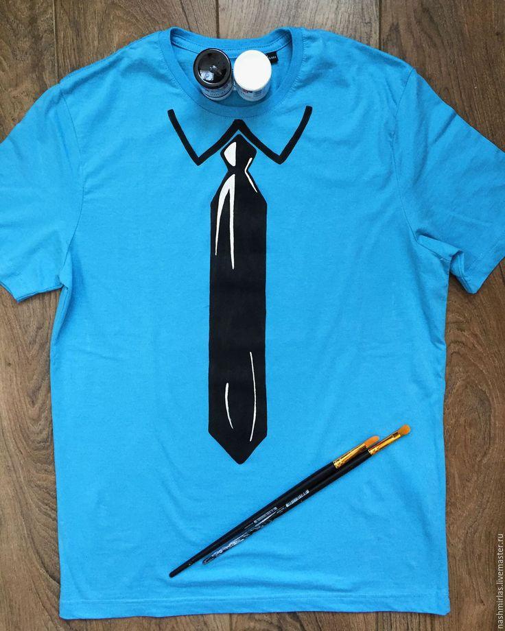 """Купить Мужская футболка """"Галстук"""" - синий, галстук, роспись одежды, роспись футболок, роспись на заказ"""