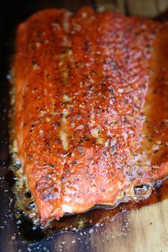 Cedar Plank Spice-Rubbed Salmon – topped with brown sugar and spices. Can be made on the grill or inside the oven.
