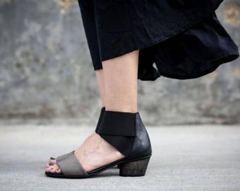 Nieuw Zwart lederen sandalen hakken sandalen handgemaakte