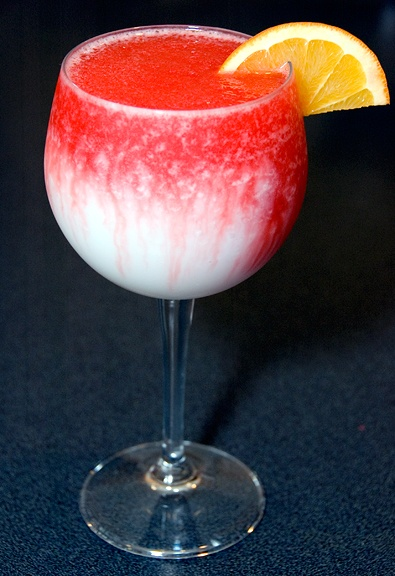 Lava Flow drink (Pina Coladas with Rivers of Strawberry).