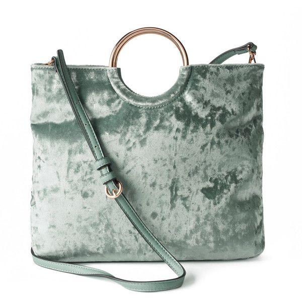 LC Lauren Conrad Ring Convertible Crossbody Bag (850 ARS) ❤ liked on Polyvore featuring bags, handbags, shoulder bags, med green, velvet handbags, green cross body purse, zipper shoulder bag, zip purse and green crossbody