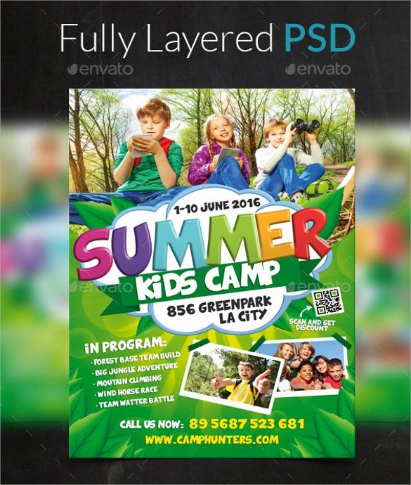 25 Free Summer Camp Flyer Template In 2020 Flyer Template Flyer