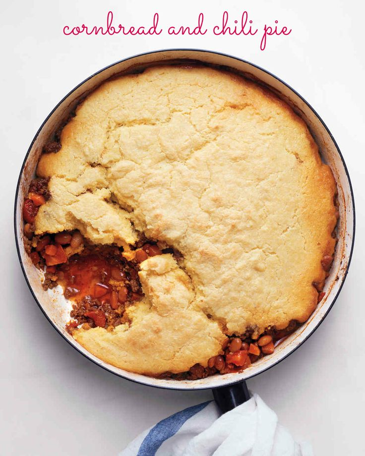 Featuring A Beef And Bean Chili Topped With A Buttermilk Cornbread Crust