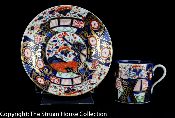 This is a super Crown Derby hand painted cup and saucer in the one of the very early Japan patterns Rich reds cobalt blue and gilding create quite a stunningly modern effect on this item dating from 1800 - 1815!