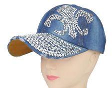 Women Rhinestone Fleur De Lis Studded Denim Baseball Tennis Hat Cap Bling New