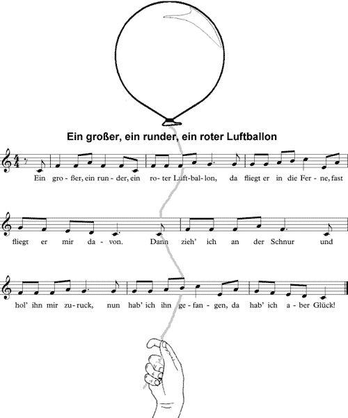 Ein großer, ein runder, ein roter Luftballon (Noten und Text)
