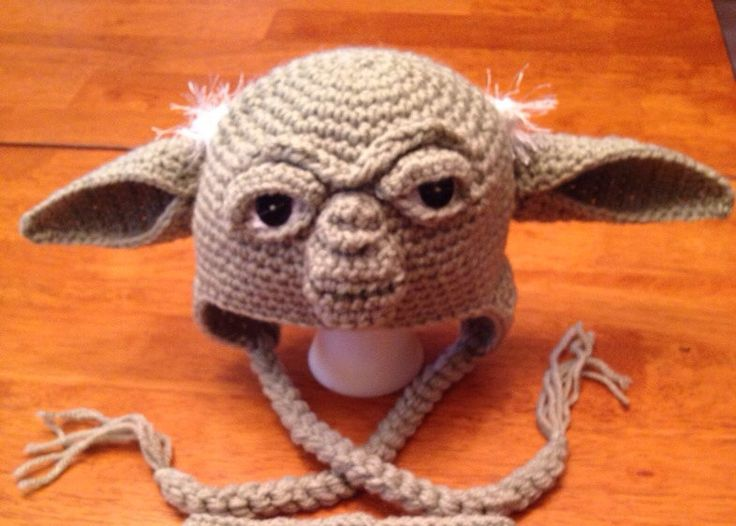 Crochet Large Child Teen or Adult Yoda Hat. Made to by MamaJody54