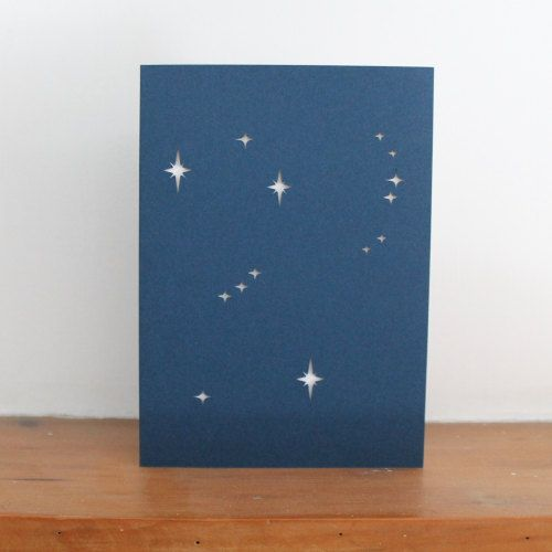 Orion constellation Zodiac Papercut  Greetings Card
