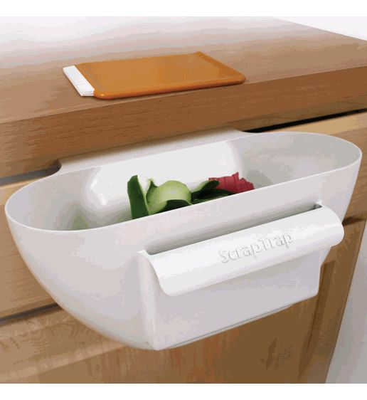 So want this ----Scrap Trap Bin and Scraper - clean crumbs and slicings off counter while cooking
