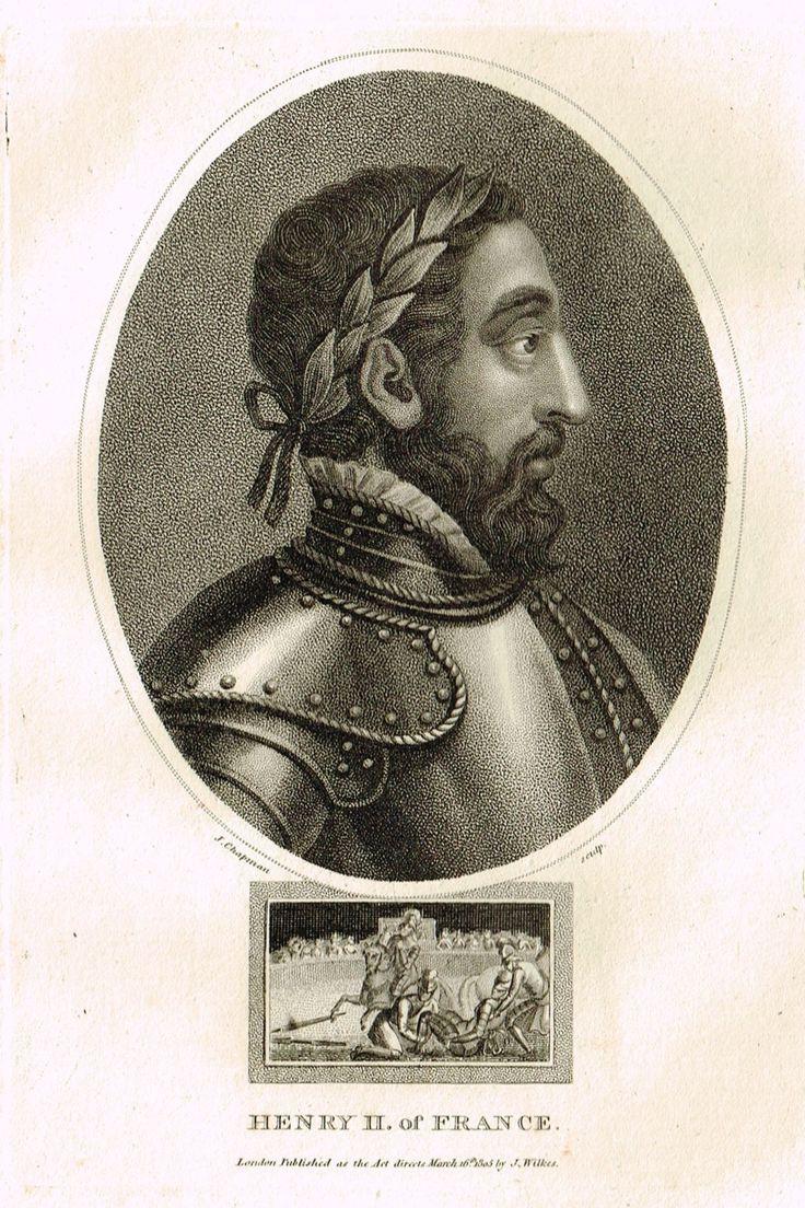 "Antique Portrait Print - Wilkes's ""HENRY II OF FRANCE"" - Copper Engraving - c1803"
