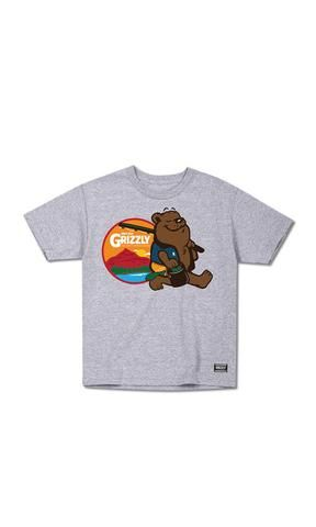 Grizzly Youth Tee Gone Fishing Grey - Fuel Clothing
