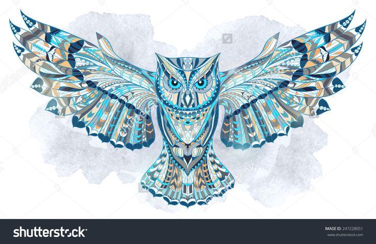С рисунком сова на гранж фон. Африканский / индийский / тотема / татуировки дизайн. Оно может быть использовано для дизайна футболки, сумки, открытки, плаката и так далее.