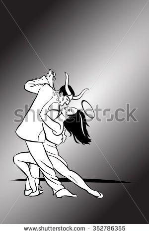 Horny Devil Dances Tango - stock vector