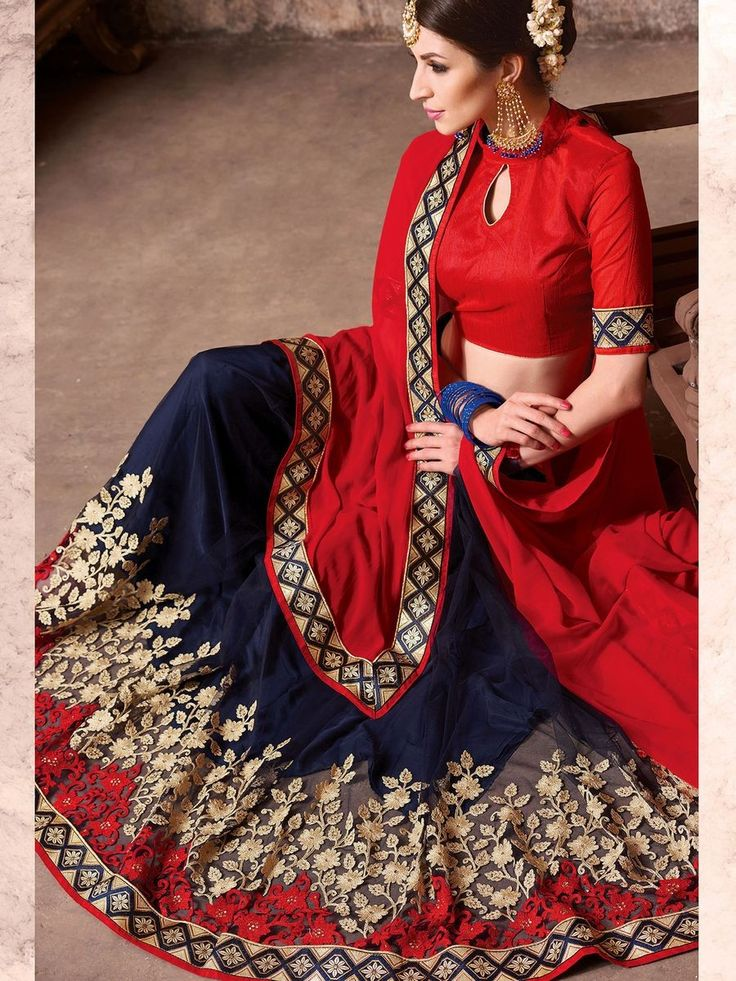 Blue and Red Net Embroidered Saree