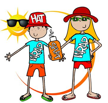 Image result for CHILD APPLYING sunscreen CARTOON WEARING A HAT DRINKING WATER