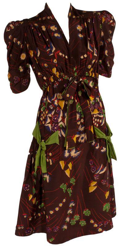 1930s Silk Border Print Cocktail Dress at ballyhoovintage.com So cute! Women's vintage fall winter fashion