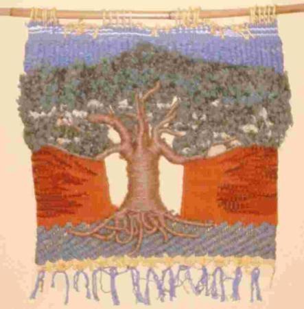 Arbol (vendido) tapiz algodón,yute y lana, alto lizo,