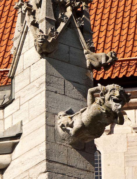 Comical gargoyles and grotesques in Sweden.