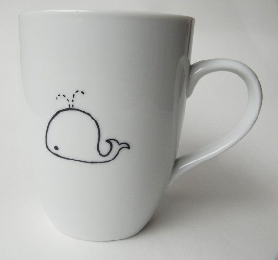 Cute Whale hand painted personalized white by PaintMyName on Etsy, $27.00