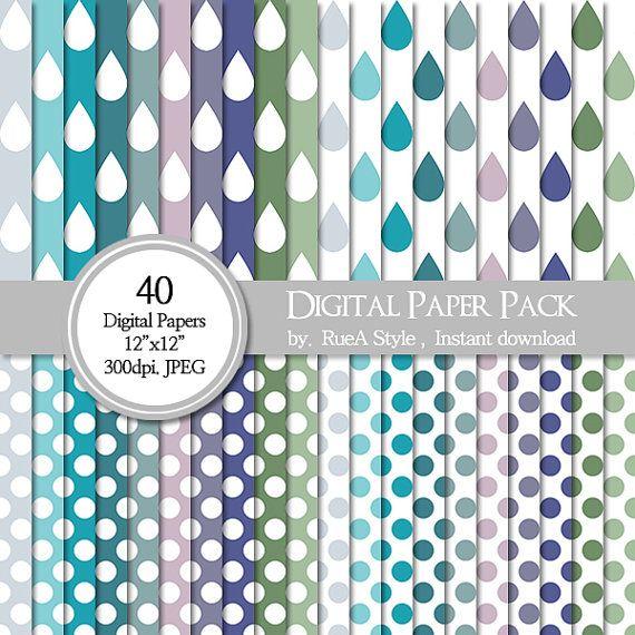 SALE 40 Digital Paper Pack Dot Design rain rain drop by rueastyle