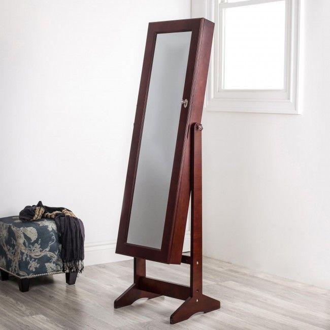 KSP Sophia Floor Mirror Jewellery Cabinet (Brown)