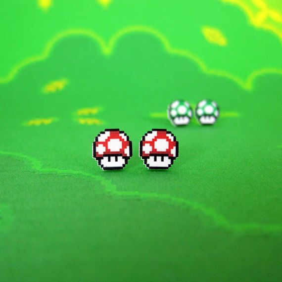 Super Mario World Mushroom Earrings in Two Flavors. $6.50, via Etsy.