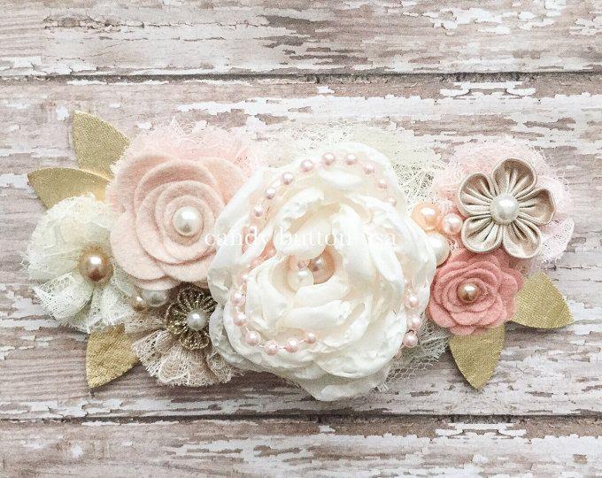 Flor rosa bebé diadema, rústico boda banda de pelo de peluca, diadema de encaje, marfil Blush champán oro venda, venda fieltro, muchacha de flor