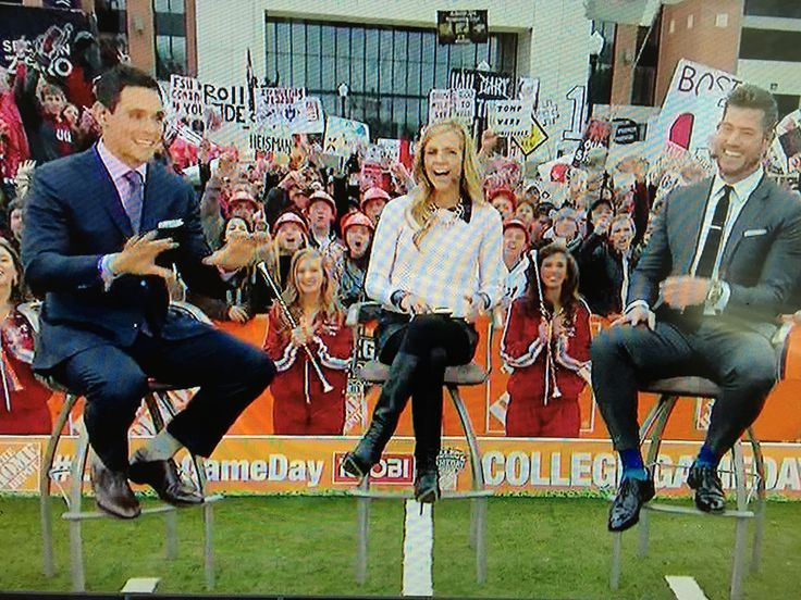 David Pollack, Samantha Ponder and Jesse Palmer at ESPN College Gameday at Tuscaloosa, AL