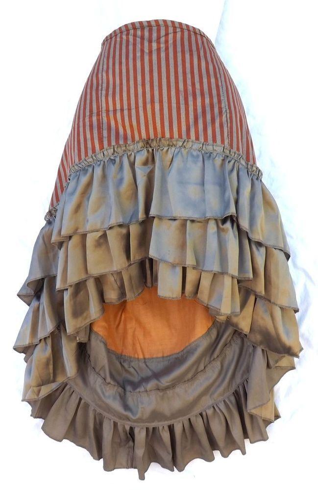 Steampunk Victorian Renaissance Pirate Costume Orange Bronz Striped Ruffle Skirt #Kashi #Skirt