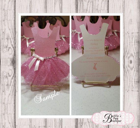 Ballerina Invitation Tutu Invitation by BobbiesPartyBoutique