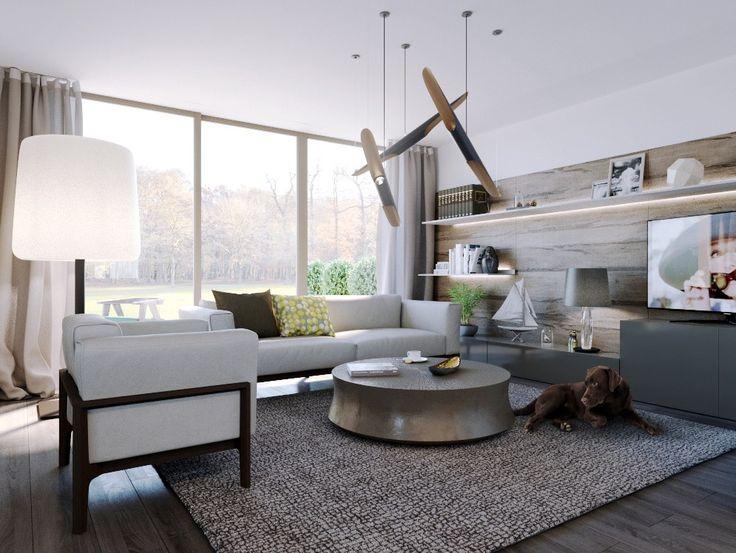 livingroom white sofa metallic round table two black polkadot pillow grey white pattern carpet silver table lamp wood flooring laminated white big stand