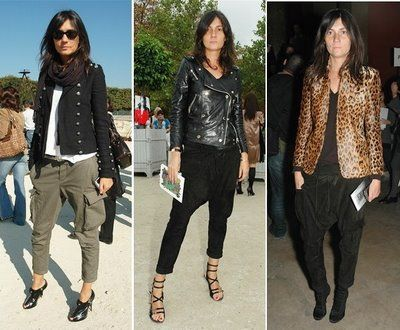 the look on the far left is amazing, she always wears simple & wearable pieces