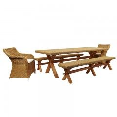 Wicker Furniture Eleanor Table with 2 Benches and 2 Chairs