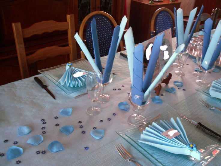 Décoration table bleue