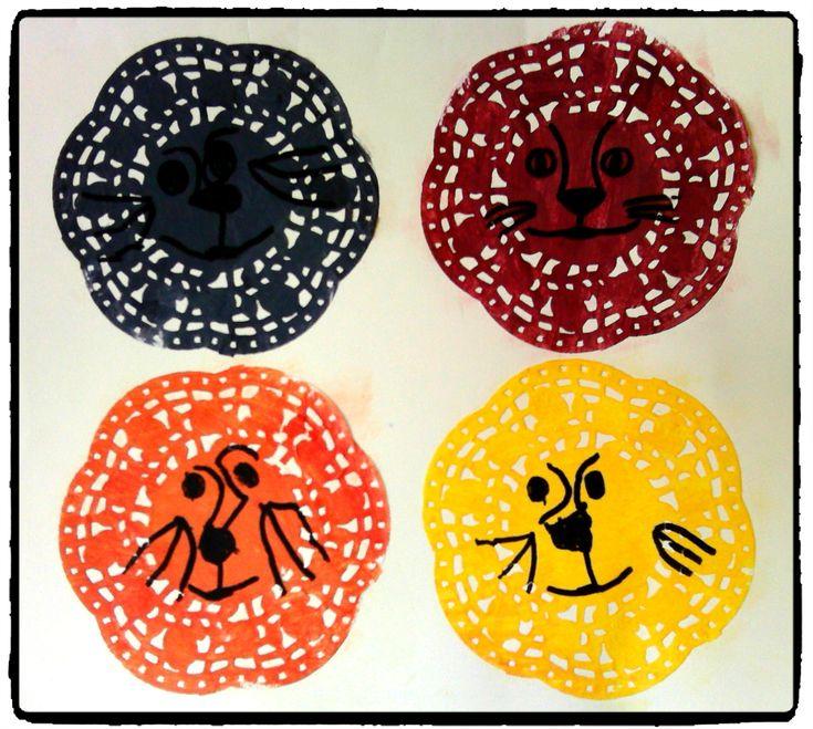 têtes de lions, afrique, savane, napperons en papier, bricolage enfant